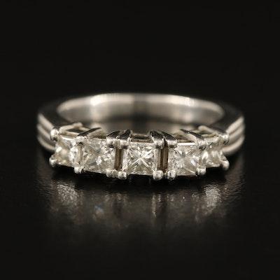 Platinum 0.60 CTW Diamond Five Stone Band