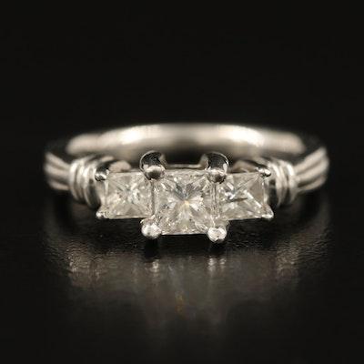 Platinum 0.76 CTW Diamond Three Stone Ring