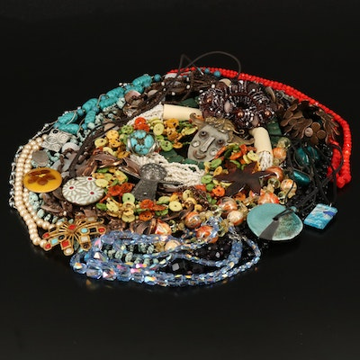 Beaded Jewelry Collection with Murano Glass and Sterling Necklace