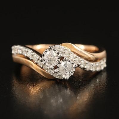 10K Rose Gold 0.50 CTW Diamond Moi et Toi Ring