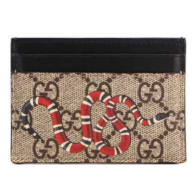 Gucci Card Case in Kingsnake Print GG Supreme Coated Canvas and Black Leather