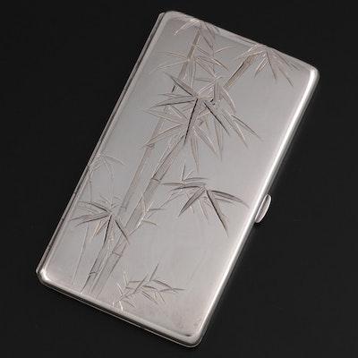 Japanese 950 Sterling Silver Bamboo Motif Cigarette Case