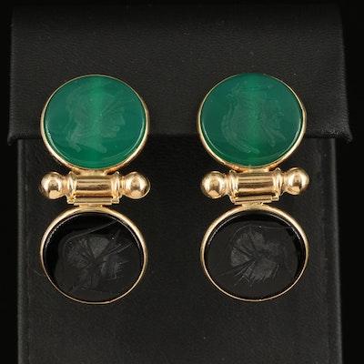 14K Black Onyx and Green Chalcedony Intaglio Earrings