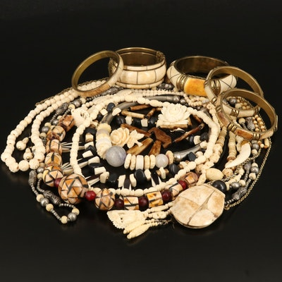 Jewelry Grouping Including Bone, Horn and Quartz