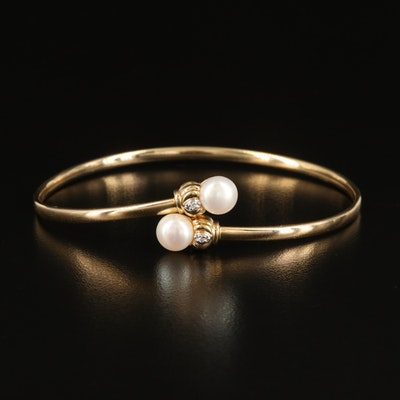 10K Pearl and Diamond Bypass Bangle