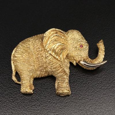 18K Ruby Elephant Brooch