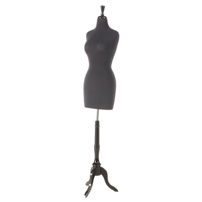 Ebonized Wood and Foam Composite Female Dress Form-on-Stand