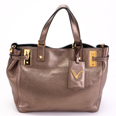 Valentino My Rockstud Convertible Tote in Pewter Metallic Leather