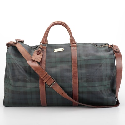 Polo Ralph Lauren Blackwatch Plaid Coated Canvas and Leather Duffle Bag