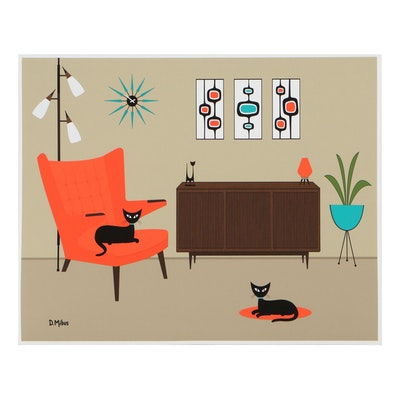 "Donna Mibus Giclée ""Mid Century Orange Papa Bear Chair with Cats,"" 21st Century"