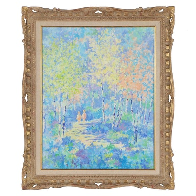 Mary Lawrence Impressionist Style Landscape Oil Painting, Late 20th Century