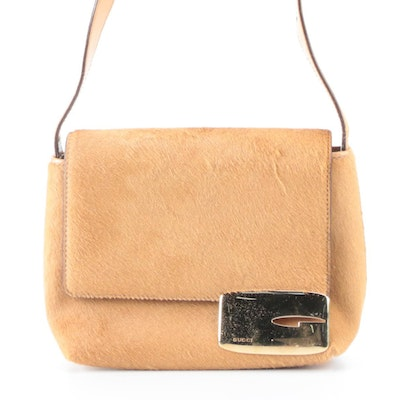 Gucci Pony Hair and Leather Front Flap Shoulder Bag