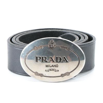 Prada Engraved Logo Buckle Leather Belt