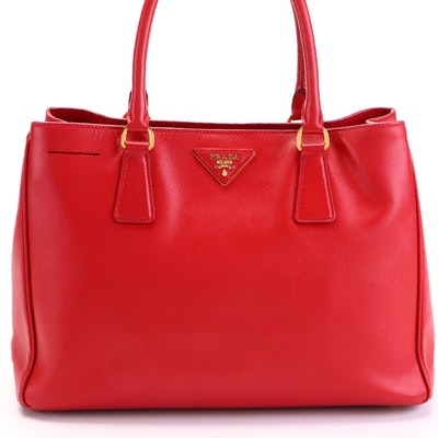 Prada Large Galleria Bag in Fiery Red Saffiano Leather