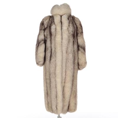 Blue Fox Fur Full-Length Coat and Headband