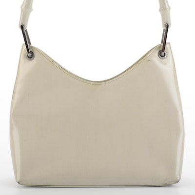 Gucci Shoulder Bag in Off-White Patent Leather with Painted Bamboo Handles