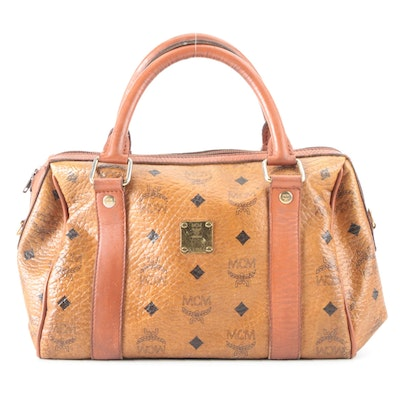 MCM Golf Collection Visetos Boston Bag in Canvas with Leather