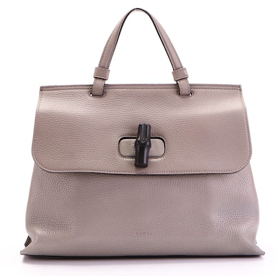 Gucci Daily Two-Way Top Handle Bag in Grey Pebbled Leather with Bamboo Turnlock