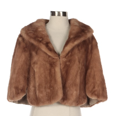 Pastel Mink Fur Capelet with Shawl Collar