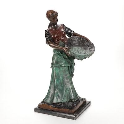 Reproduction Bronze Peasant Farmer Sculpture After Antonin Larroux