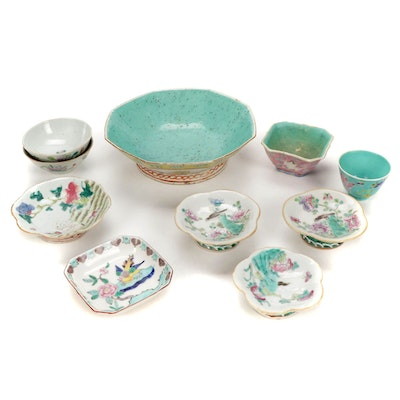 Chinese and Japanese Hand-Painted Porcelain Offering Bowls