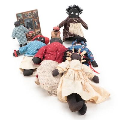 Black Americana Hand-Stitched Cloth Dolls with Mirror
