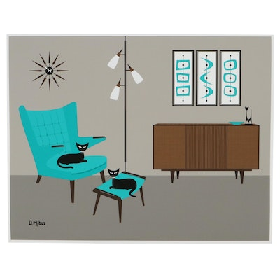 """Donna Mibus Giclée """"Mid Century Papa Bear Chair and Stool with Cats"""""""