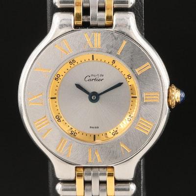 Cartier Must de Cartier 21 18K Gold and Stainless Steel Wristwatch