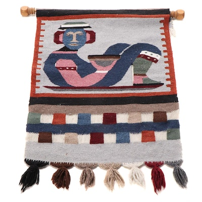Central American Handwoven Chacmool Tapestry Wall Hanging