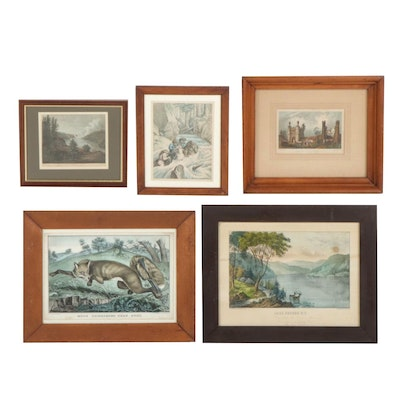 Hand-Colored Engravings and Lithographs, Mid-Late 19th Century