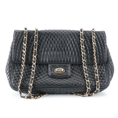 Bally Quilted Black Leather Flap Front Bag with Interwoven Chain Strap