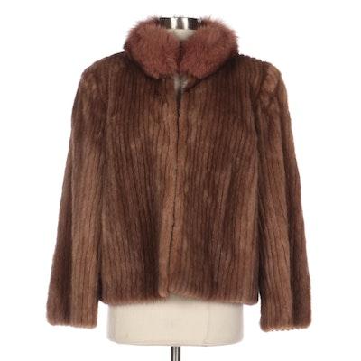 Pastel Mink Fur Jacket with Fox Fur Collar