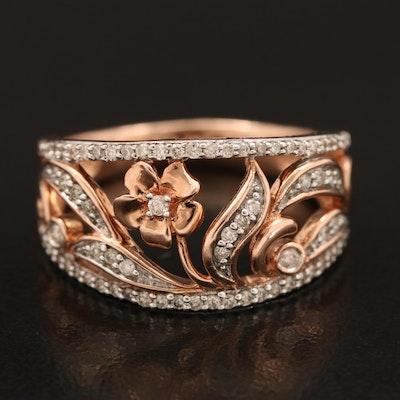 10K Rose Gold 0.34 CTW Diamond Openwork Floral Ring