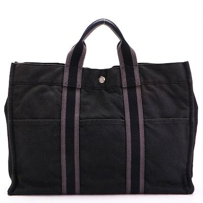 Hermès Fourre Tout MM in Black Cotton Canvas