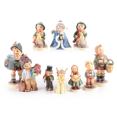 """Goebel """"For Father"""" with Other Porcelain Hummel and Goebel Figurines"""