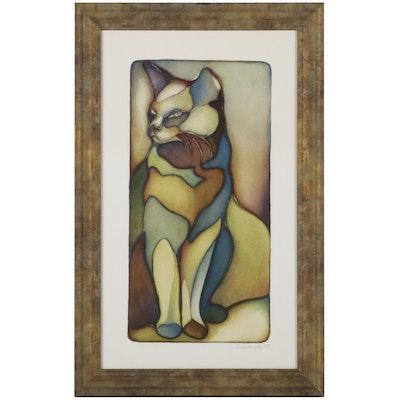 Lauren Smith Richards Offset Lithograph of Cat, 2004