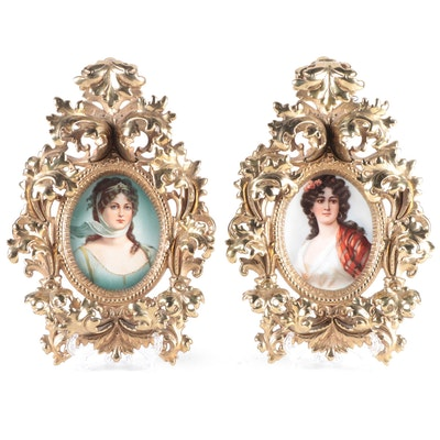 Rococo Style German Hand-Painted Porcelain Portrait Plaques in Cast Brass Frames