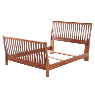 Arts and Crafts Style Cherrywood Queen Size Sleigh Bed Frame, Late 20th Century