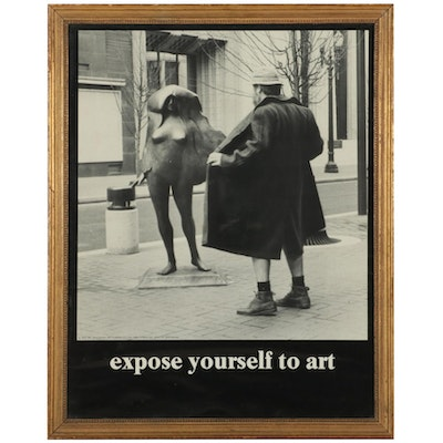 """Halftone Poster After Mike Ryerson """"Expose Yourself to Art,"""" Circa 1981"""
