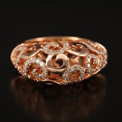 18K Rose Gold 0.75 CTW Diamond Domed Scrollwork Ring