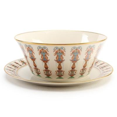 "Lenox ""Lido"" Porcelain Salad Bowl and Platter, Late 20th Century"