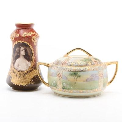 Nippon Porcelain Lidded Vessel with German Bonn Porcelain Vase, 20th Century
