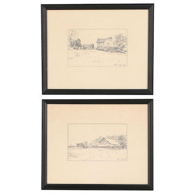 Leslie Cope Graphite Drawings of Country Homes, 1966
