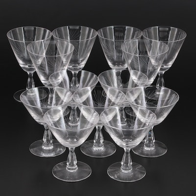 """Fostoria """"Pine"""" Etched Glass Water Goblets and Champagne Coupes, 1953–1972"""