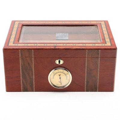 Marquetry Inlay Wood and Glass Humidor with Cedar Cigar Tray