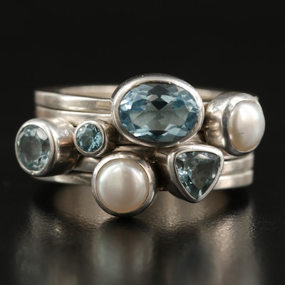 Sterling Sky Blue Topaz and Pearl Stacking Rings
