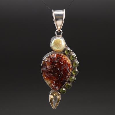 Sterling Silver Pearl, Quartz, and Peridot Pendant