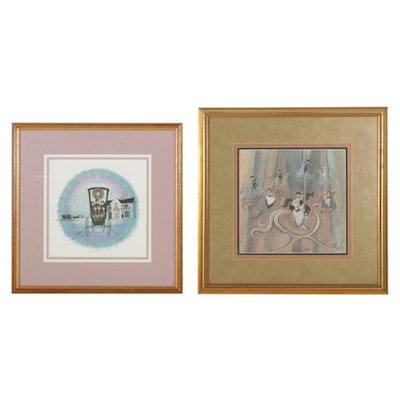 """P. Buckley Moss Offset Lithographs """"Christmas at Home"""" and """"Story City Carousel"""""""