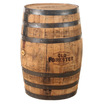 """""""Old Forester"""" Oak and Metal-Bound Kentucky Straight Bourbon Whisky Barrel"""