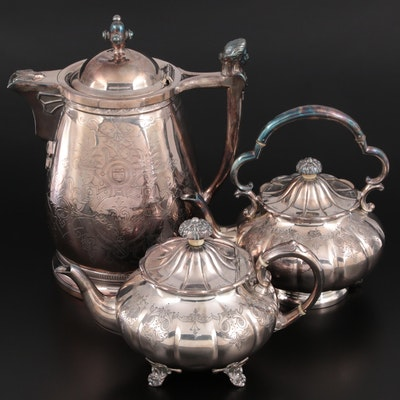 Cooper Bros. and Meriden Silver Plate Teapots and Carafe, Mid-20th C.